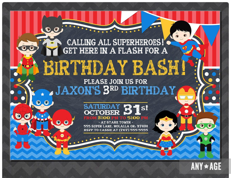 Superhero Birthday Invitation Personalized Superhero