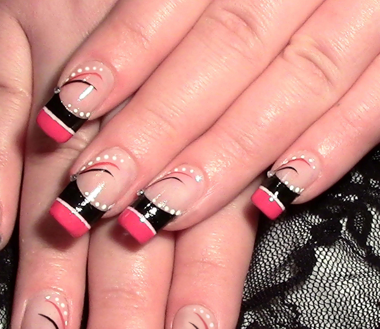Nageldesign abstrakt in Pink & Schwarz zum selber machen / NailArt ...
