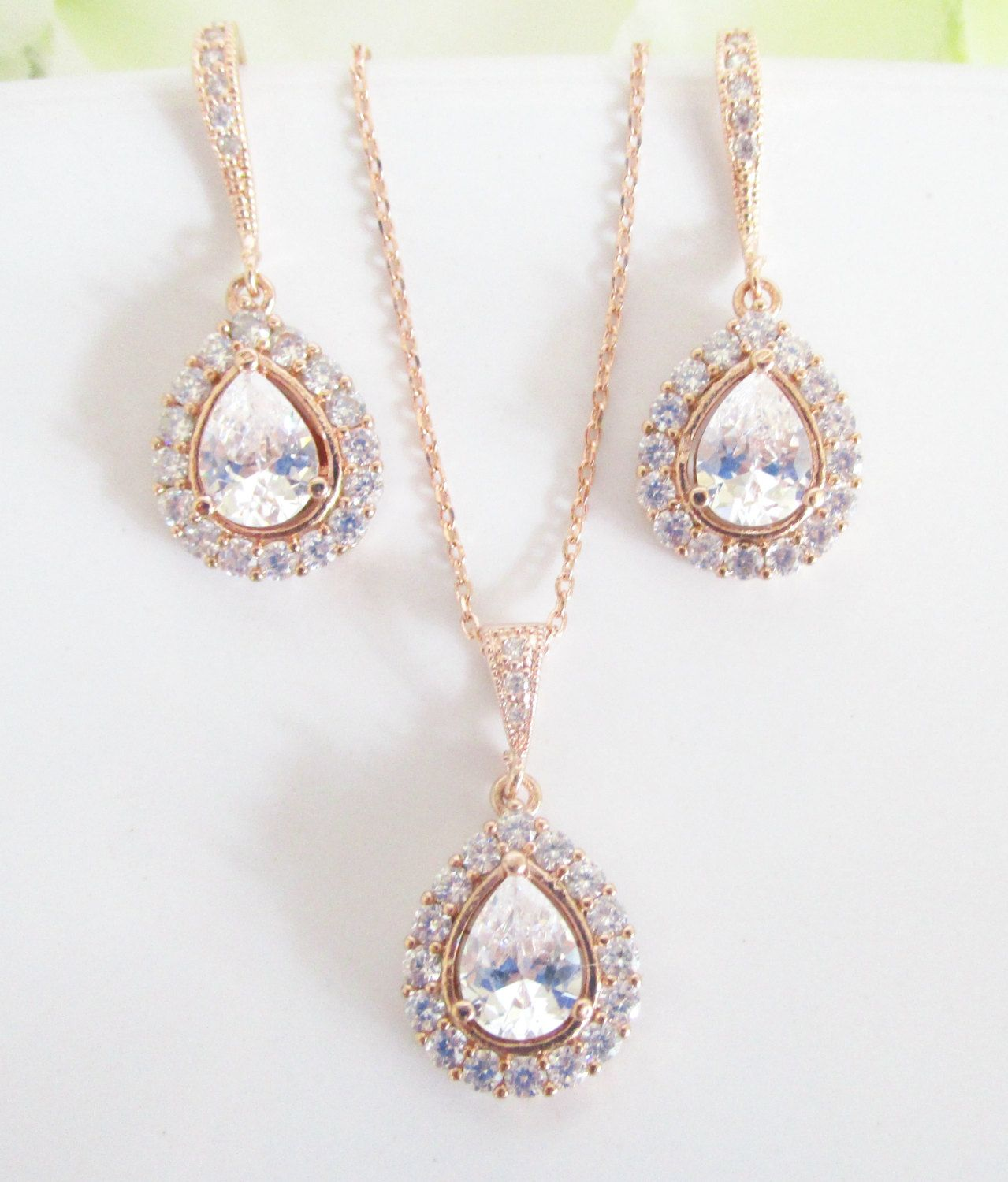 Bridal jewelry set rose gold necklace and earrings
