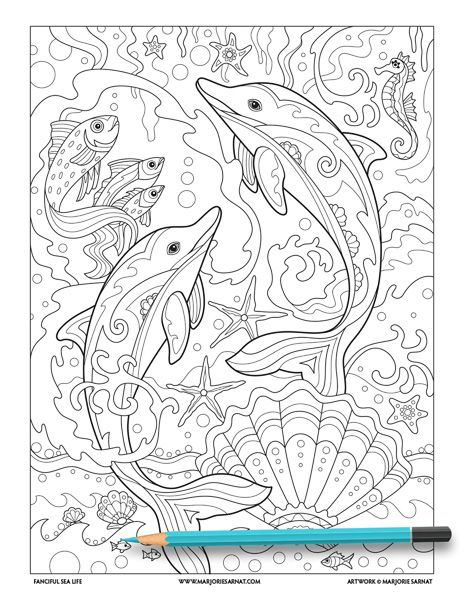 Dolphins Jumping Coloring Page C Marjorie Sarnat Coloring Pages