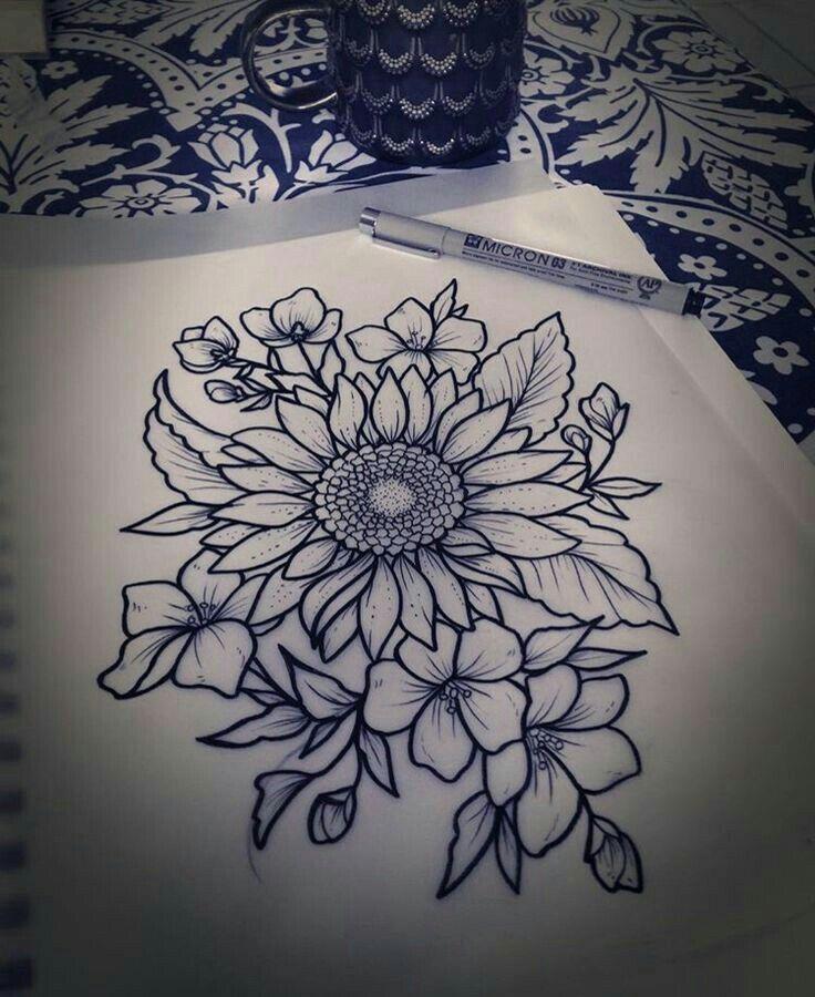 Black And White Sunflower Tattoos