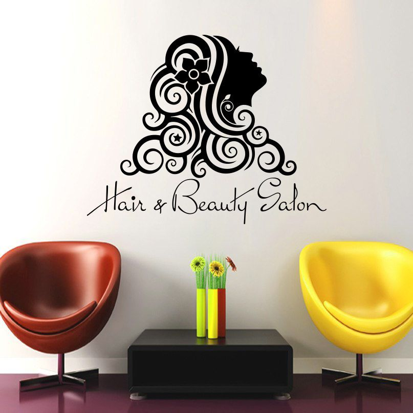 Wall Decals Beauty Salon Girl Hair Hairstyle Flower Vinyl Sticker Decor DA3775 #STICKALZ #MuralArtDecals