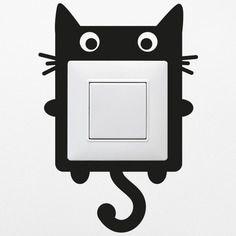 Sticker mural interrupteur prise chat home deco tenture murale parement mural et prise murale - Tenture chambre bebe ...