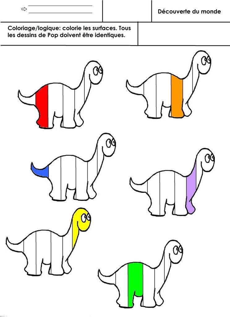 Dinosaures coloriage pop logique grande section pinterest dinosaure maternelle et pop - Modele dessin dinosaure ...
