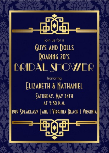 roaring 20s great gatsby bridal shower invitations bridalshowerinvitation gatsby wwwweddingbydesignscom