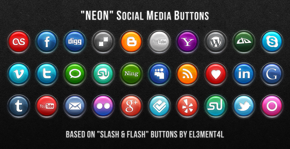 "Imagery Investigation: ""Neon Social Media Buttons"" set. Very cool-looking. Like the choice of Twitter buttons (the ""t"" or the bird). And yay, finally a Google+ button! (Though I'm amused that people are still making icons for MySpace in these icon packs)."