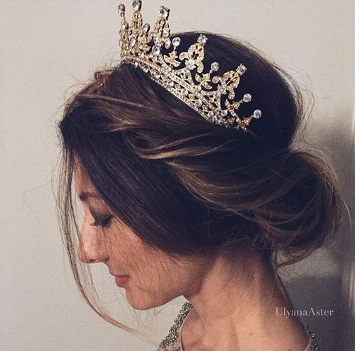 Simple Slightly Messy Updo With A Queen Tiara Perfect Bridal Look Pinterest Qqueennv Gold Bridal Crowns Wedding Hairstyles With Crown Quince Hairstyles