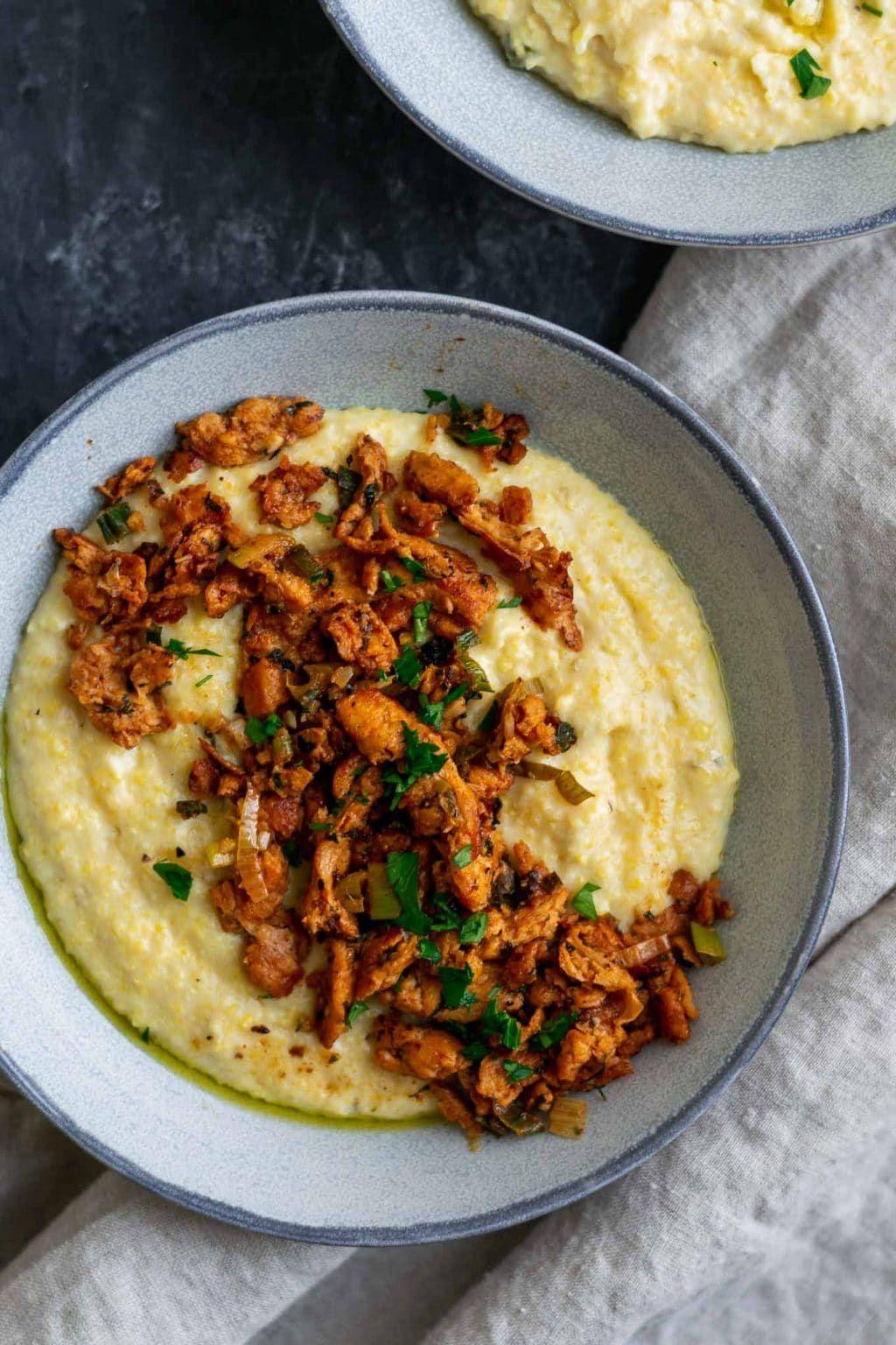 Cajun Soy Curls And Creamy Vegan Jalapeno Grits Recipe Soy Curls Recipes Soy Curls Food
