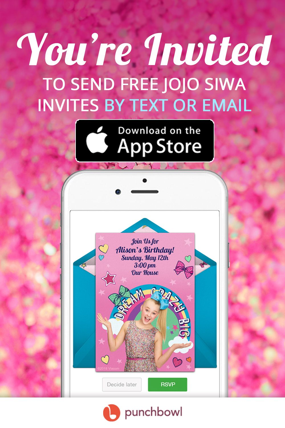 Send free Jojo Siwa invitations by text message right from