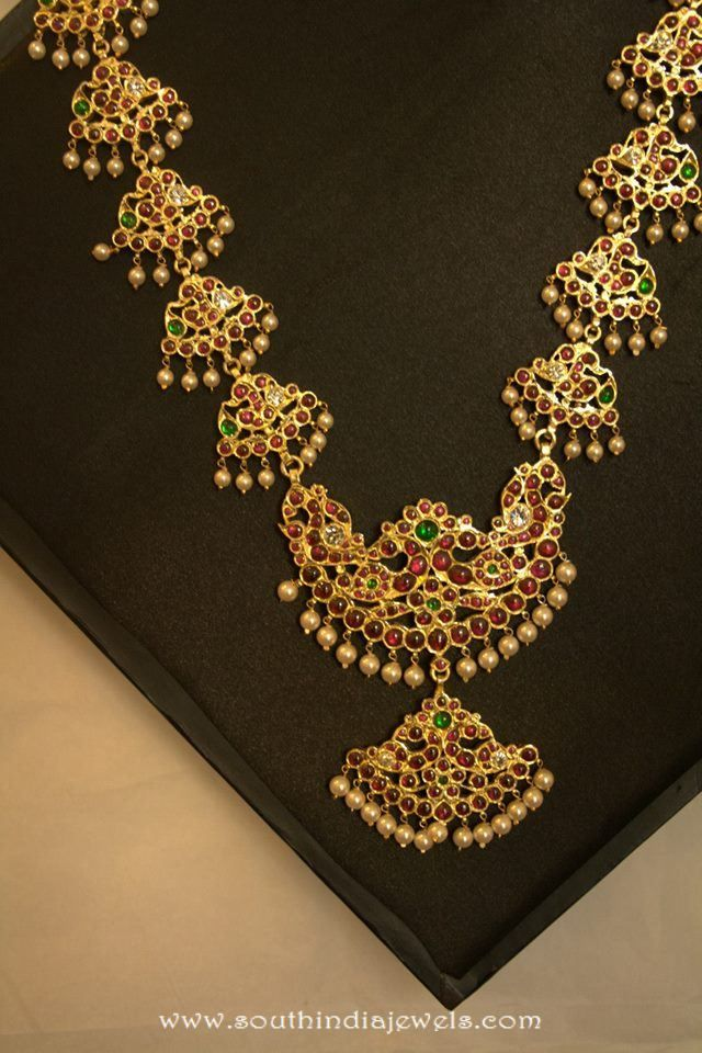 Gold Plated Long Kemp Necklace Temple Indian Jewelry