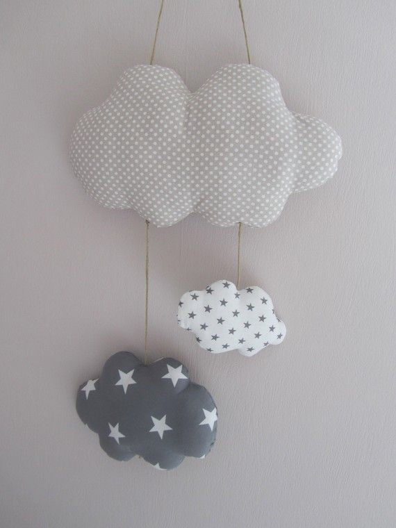 suspension mobile nuage beige pois gris etoiles nina children room decoration pinterest. Black Bedroom Furniture Sets. Home Design Ideas