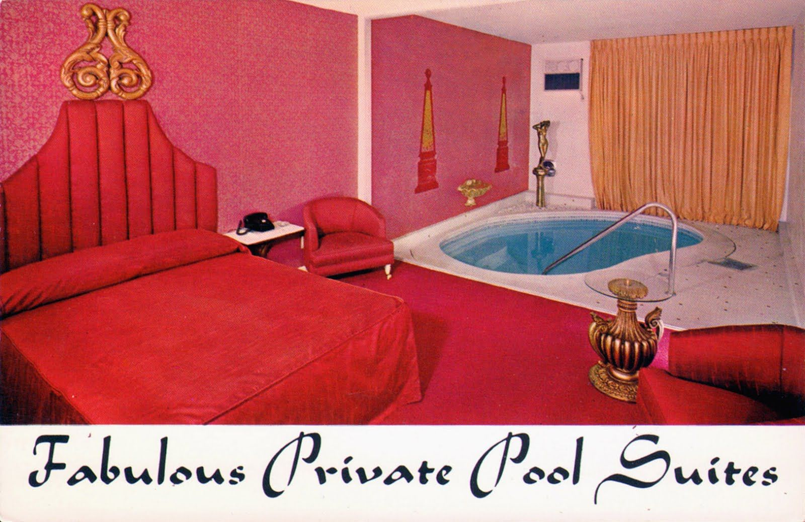 Vintage 60s Interior Of A Private Pool Suite At The Golf Country Club Motor Hotel Las Vegas Nevada Vintage Interiors 70s Bedroom Interior