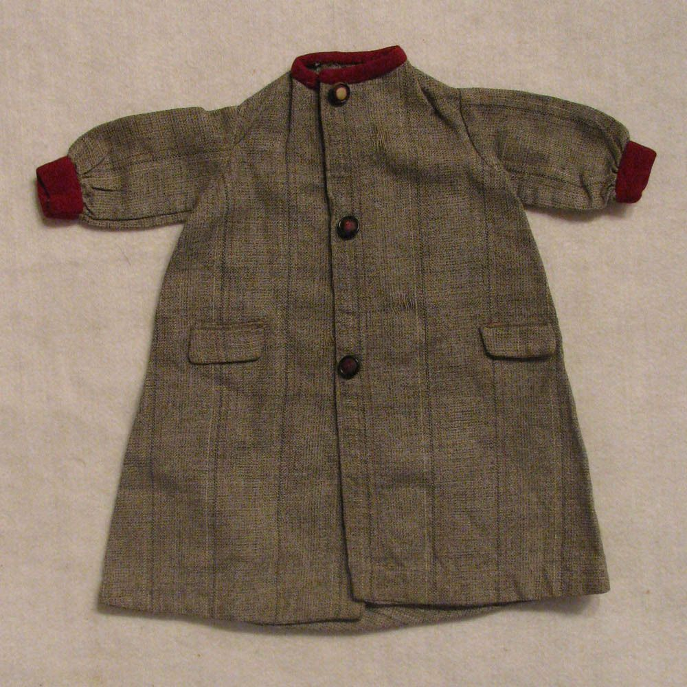 "Antique Gray Wool Coat for Doll 16"" -18"""