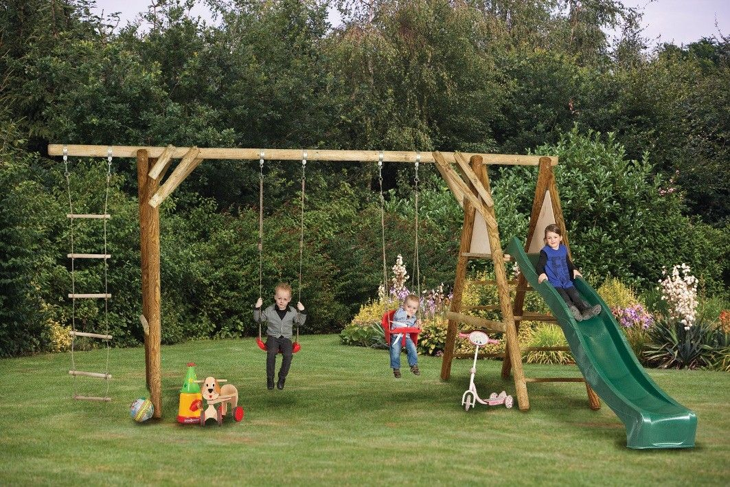 Superbe Swing Sets For Kids | Tuin Antoine Climbing And Swing Set For Children With  Slide