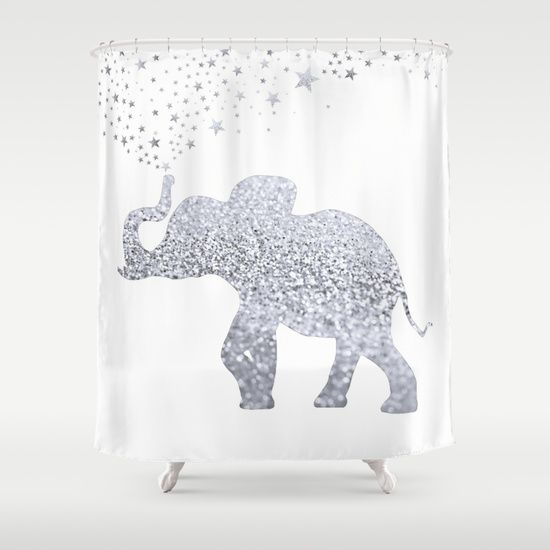 silver and gold shower curtain. elephant shower curtain silver and gold