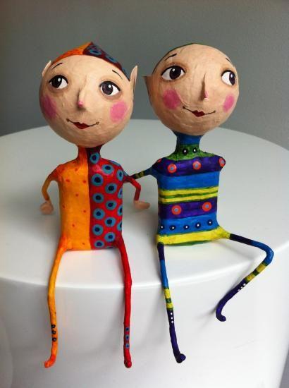 """Elves"" by Gustavo Ramirez Cruz- these paper mache guys just make me smile..."