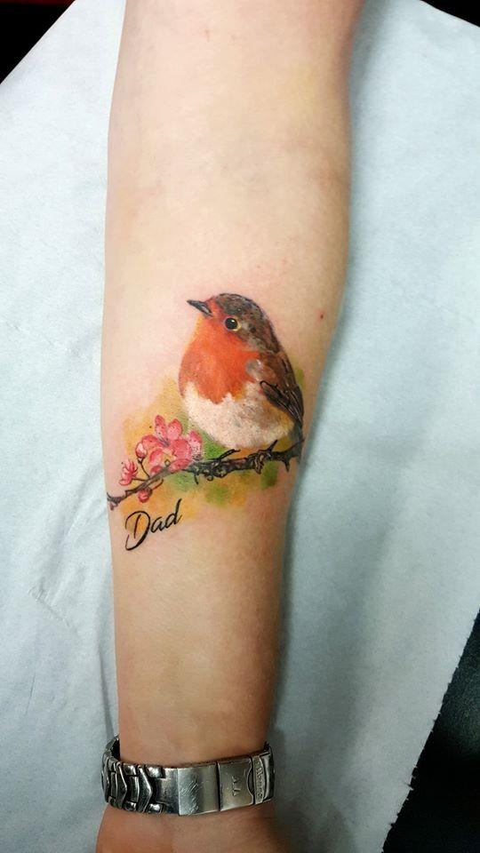 Robin Tattoo By Elena Limited Availability At Holy Grail Tattoo Studio Robin Tattoo Robin Bird Tattoos Foot Tattoos