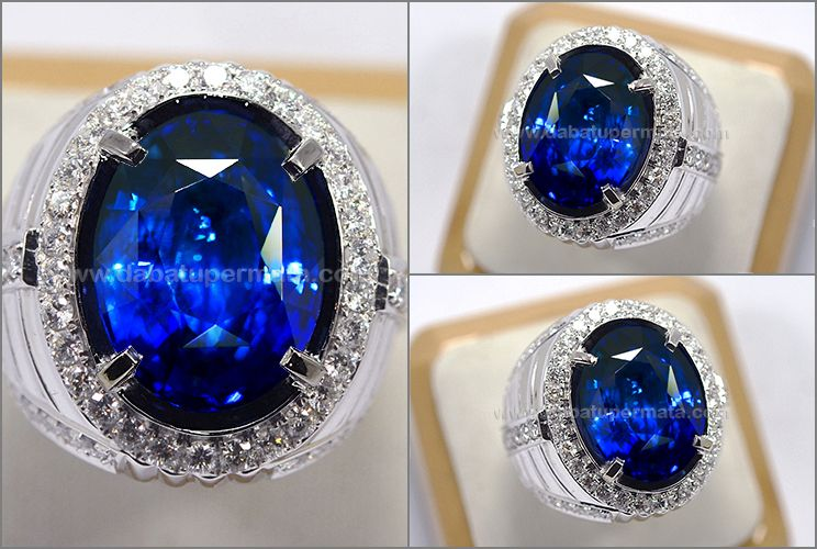 Elegant Hot Royal Blue Safir Cristal Srilanka Spc 266 Cincin Pria Cincin Kecubung