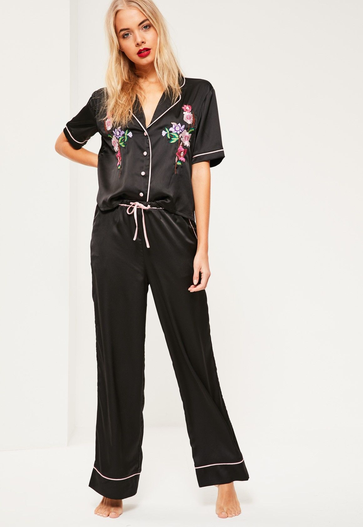 ... women s sleepwear. Missguided - Black Luxury Satin Embroidered Pyjama  Set 2071bde09