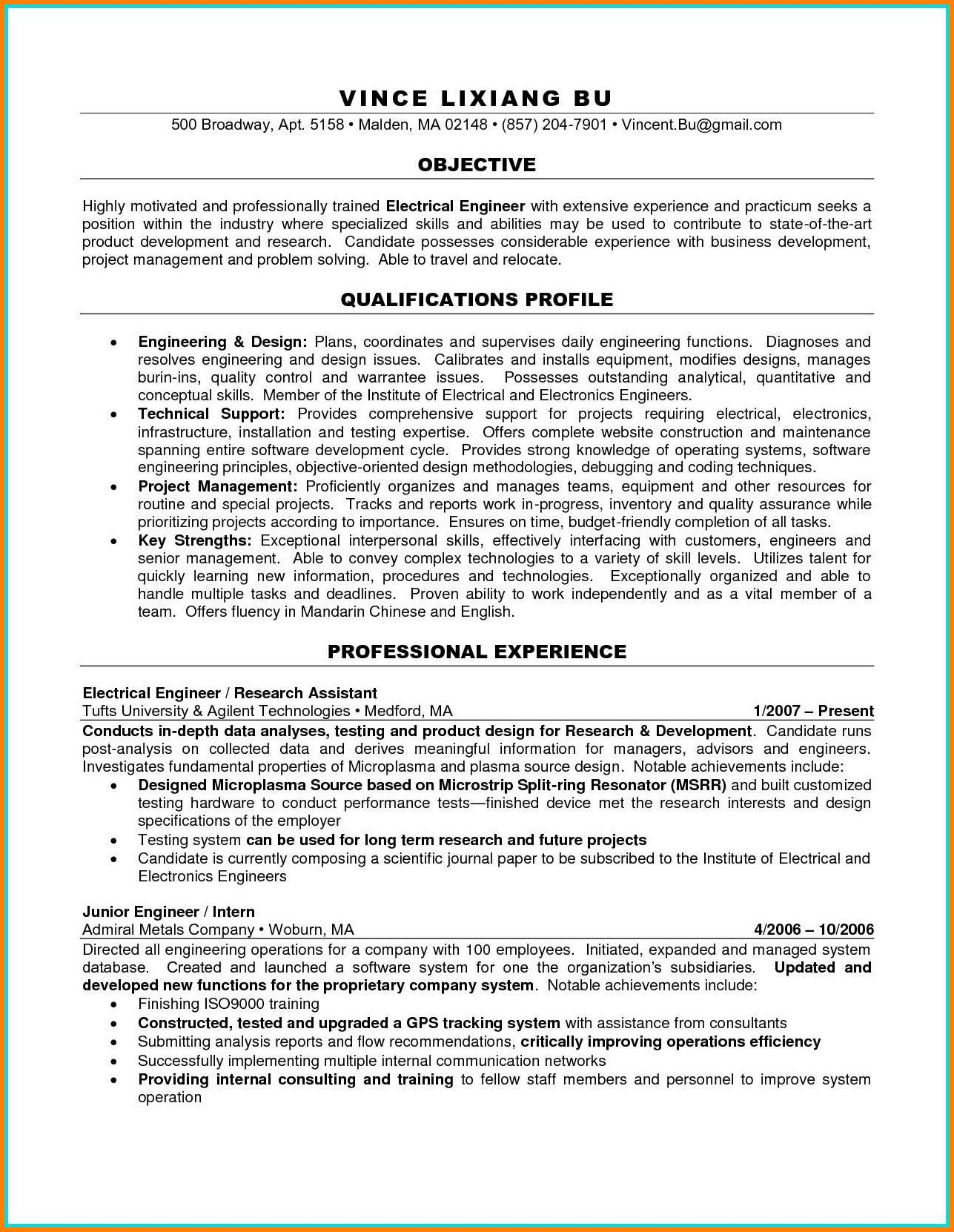 Electrical engineering resume examples newest 9