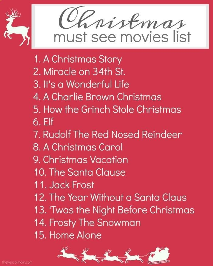 Heres a free printable Christmas movies list to make sure you catch all the classics, and new Christmas movies your whole family will love!! via The Typical Mom