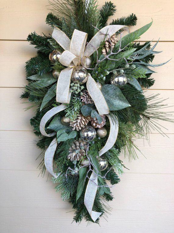 Natural Wreath For Front Door Christmas Door Swag Natural
