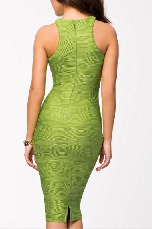 Love this Color Green! Would love this Dress in Black as well! Shirred Elastic Round Neck Sleeveless Bodycon Dress #Sexy #Green #BodyCon #Fashion