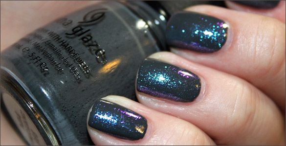 China Glaze in Concrete Catwalk with CND Sapphire Sparkle on top