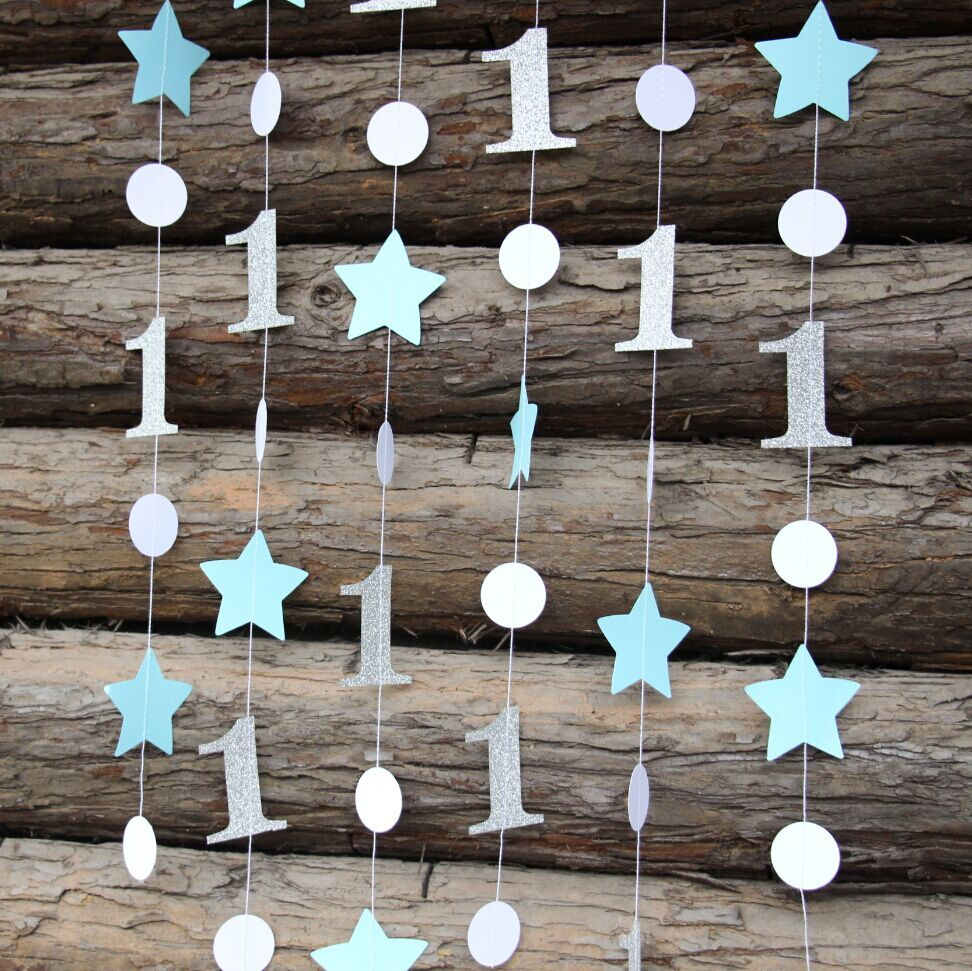3pieces Lot Blue Silver Star Garland One Gerland Decor Boy Girl 1st Birthday Decorations Baby ShowerCake Smash In Party Backdrops From Home
