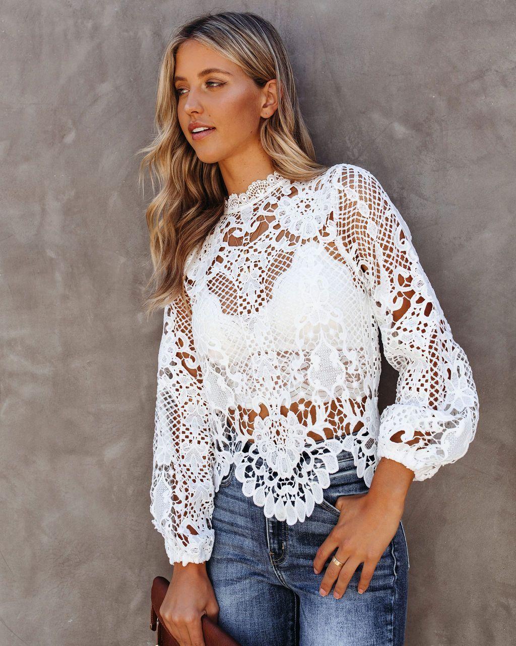 Londyn Crochet Lace Blouse Ivory Crochet Blouse Outfit Crochet Lace Top Lace Shirt Outfit