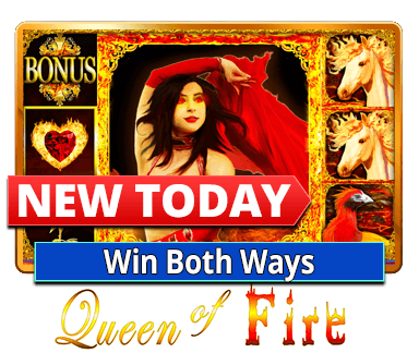 New! QUEEN OF FIRE! Burning Wins Both Ways! Mega Blocks! A new slot every day on 1Up! Play now on mobile or on FB ☛ http://bit.ly/1baxxLo!