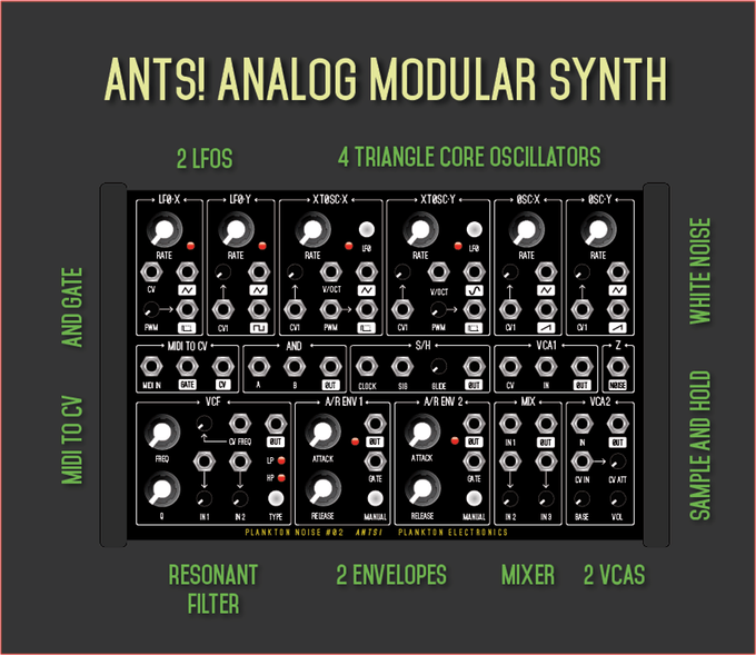 new ants synth designed to be an affordable all in one modular synthesizer synths drum. Black Bedroom Furniture Sets. Home Design Ideas