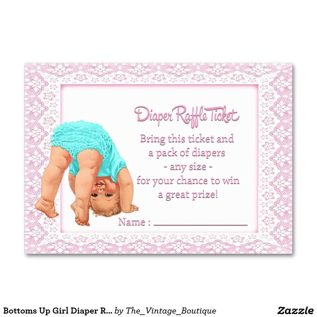 Bottoms Up Girl Diaper Raffle Ticket Large Business Cards (Pack Of ...