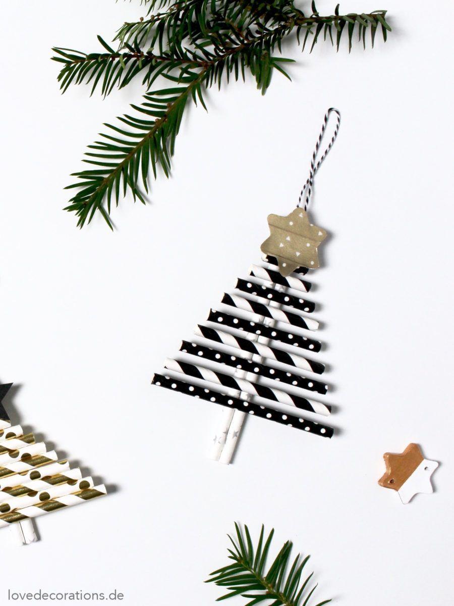 diy weihnachtsanh nger aus papier strohhalmen holiday decorations christmas diy christmas. Black Bedroom Furniture Sets. Home Design Ideas