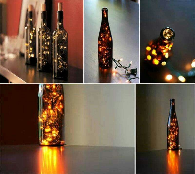 Diy deko flaschen mit licht deko pinterest diy deko for Zimmerdekoration diy