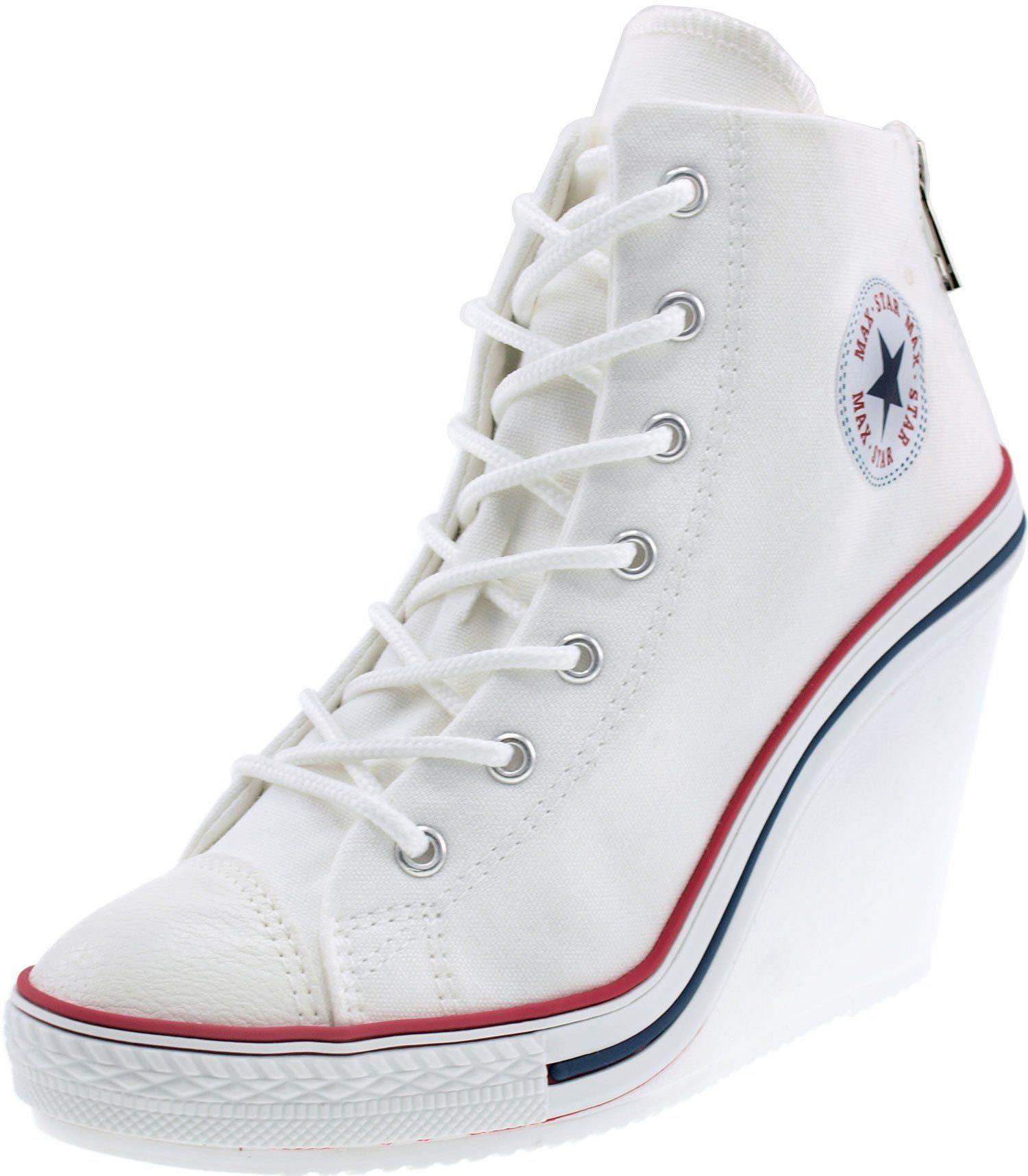 a412237d9223 Amazon.com  Maxstar 777 Back Zipper Canvas Wedge Heels Shoes Black 7 B(M)  US Womens  Shoes