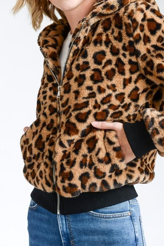 6a1cc934789d6 Leopard Print Fur Zip Up Hoodie Jacket – Ally and Ashley | shopping ...
