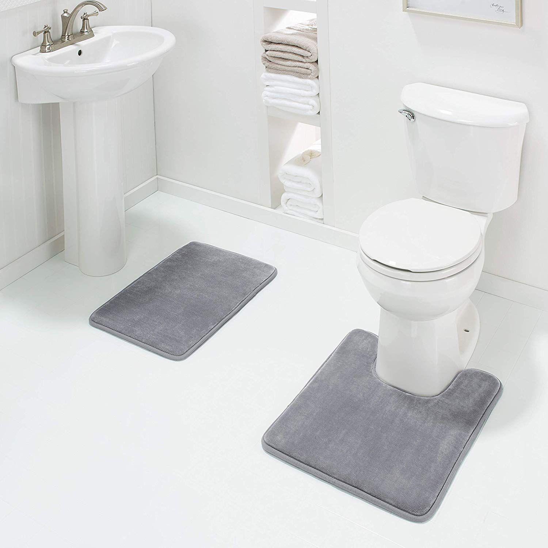 Genteele Memory Foam Bath Mat Non Slip Absorbent Super Cozy Velvet Bathroom Rug Carpet 17 X 24 Beige Hom Bathroom Rugs And Mats Contour Rug Bathroom Rugs