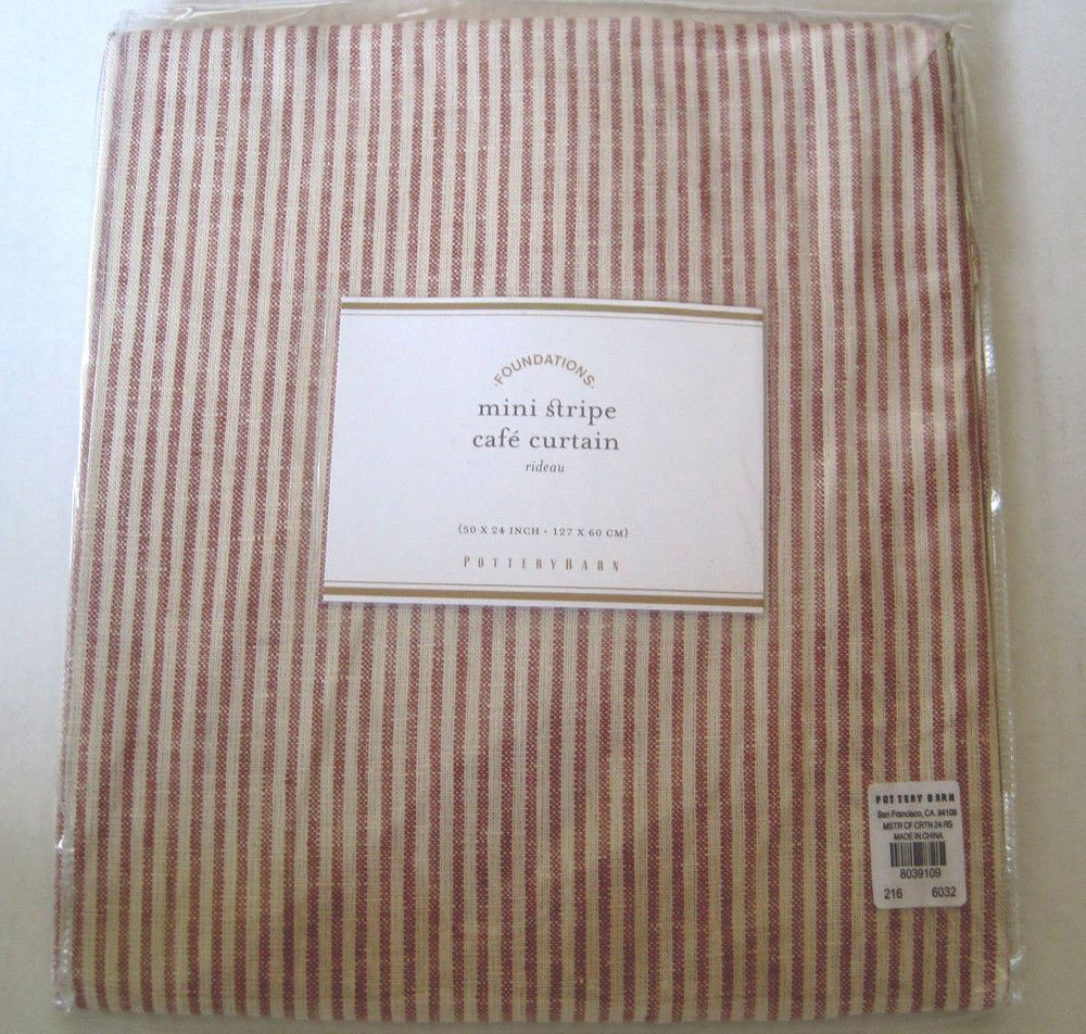 Pottery Barn Mini Stripe Cafe Curtain 50x24 Red Tan 100