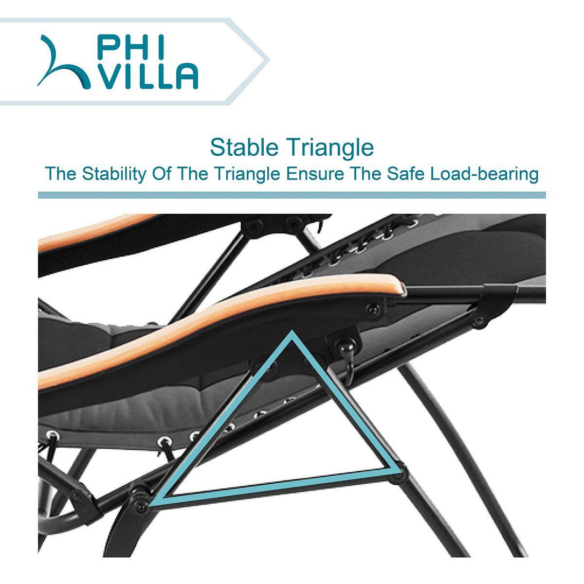 PHI VILLA Oversized XL Padded Zero Gravity Lounge Chair