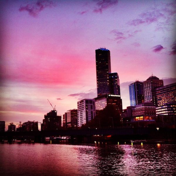 Pink sky in Melbourne - photo from my scholarship entry  for the Melbourne Blogcademy - http://www.kapcha.co.nz/2013/10/the-blogcademy-and-why-i-need-my-mojo-back/