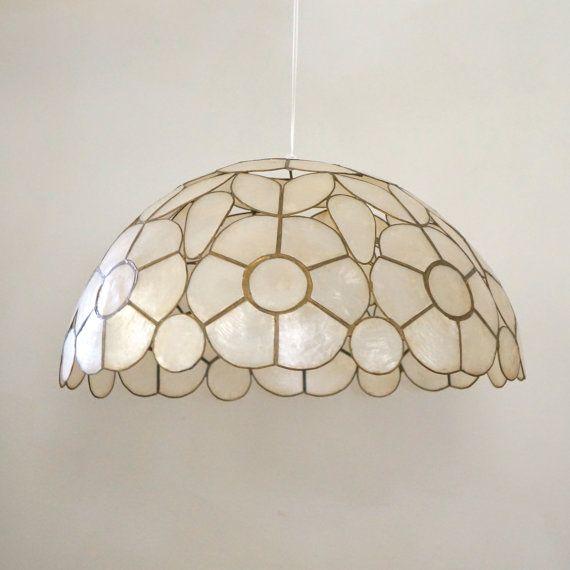 Shell Lamp Shade: Mid Century Capiz Shell Lamp Shade / Swag by PinkElephantsRetro,Lighting