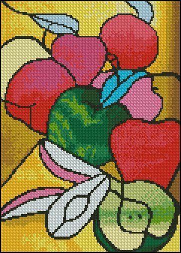 Картинка   Üveg   Цветы, вышитые крестиком, Подушка ...