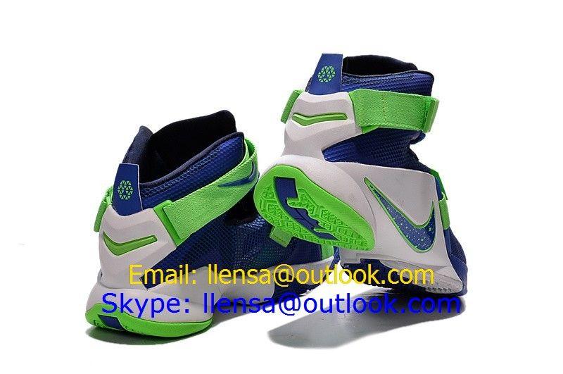 premium selection 80fb2 84f92 Nike LeBron Soldier IX EP 9 XDR Blue Green White Basketball ...