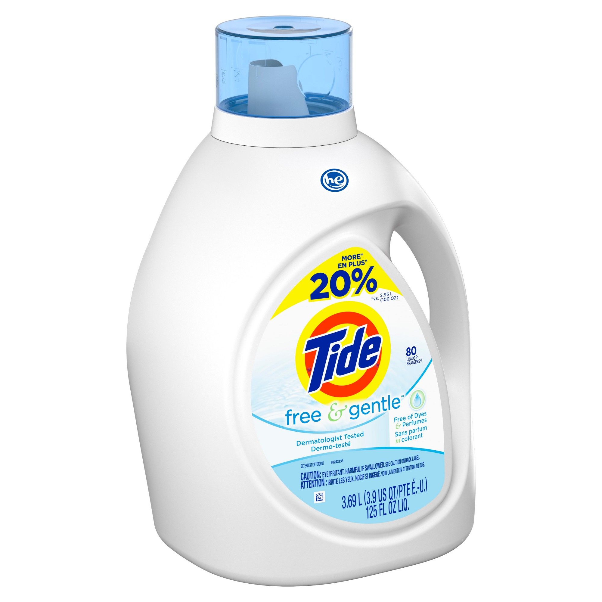 Tide Free Gentle High Efficiency Liquid Laundry Detergent 125