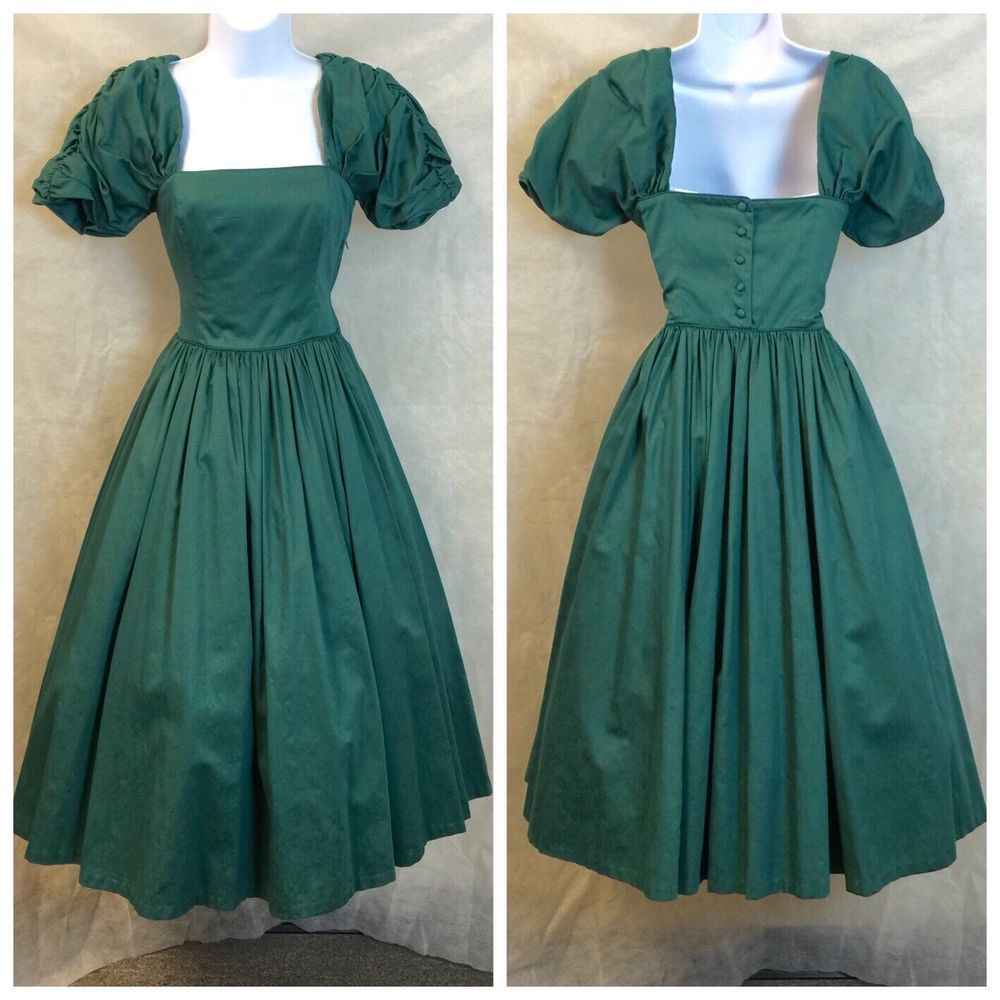 Vintage 80\'s Christmas Green Laura Ashley Fit & Flare Dress ...