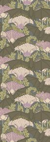 """{M. P. Verneuil c. 1897, Trustworth} """"This exotic pattern of bats and poppies does rather suggest the realms of altered if not enhanced states of consciousness. """"Bat and Poppy"""" is an extraordinary elegant half drop design in shades of brown, grey, mauve, pink, green and ochre that evokes a fin de siecle maturity approaching the cusp of decline. """"Bat and Poppy"""" is appropriate to wheresoever the aesthetically sophisticated choose to install it.'"""