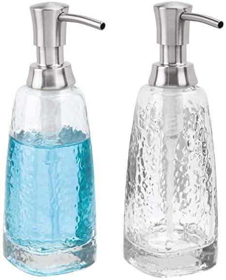 Amazon Com Mdesign Modern Glass Refillable Liquid Soap Dispenser Pump Bottle For Bathroom Vanity Countertop Kitc Soap Pump Dispenser Soap Dispenser Dispenser