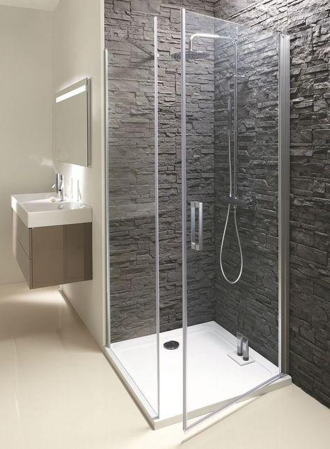 Paroi de douche avec porte pivotante (l 80 x H 200 cm) en verre (�p. 8 mm).