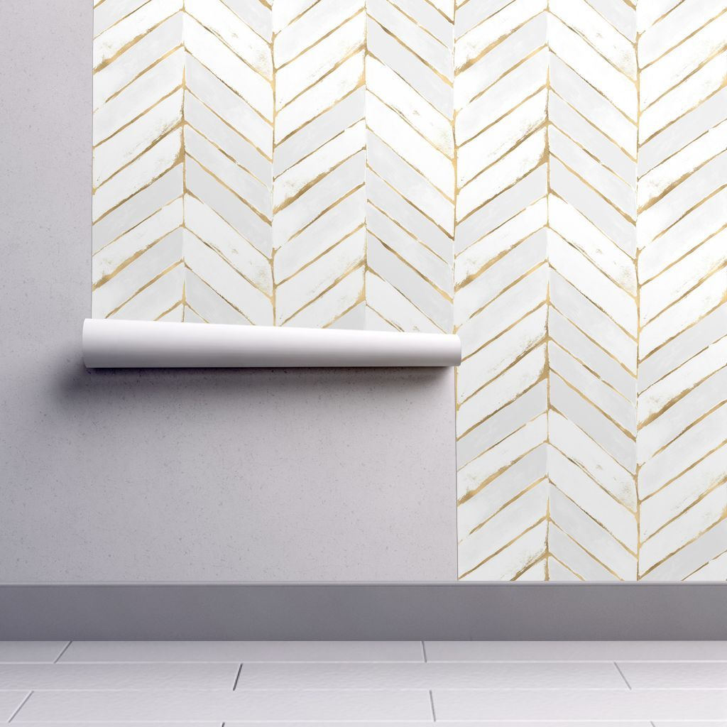 Removable Water-Activated Wallpaper Chevron White Gold Herringbone